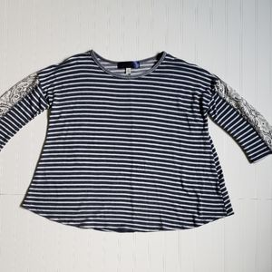 Blue Rain Francesca's navy striped lace trim top